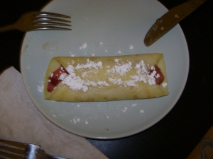 strawberry-rhubarb crepe