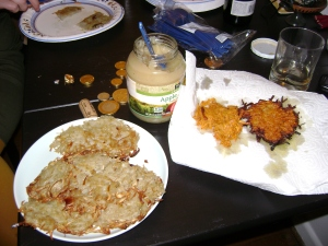 potato and sweet potato latkes