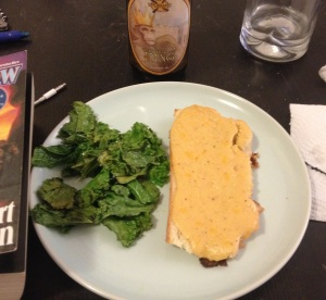 As welsh Rarebit, with a side of sauted kale