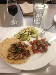 Nopales Salad, along with a zucchini salad and Mushrooms sauteed with chiles on a tortilla