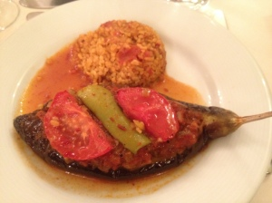109. stuffed eggplant and pilaf